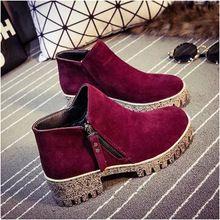 Mujeres de moda red winter planos del talón cargadores de la señora ocasional del tobillo de arranque martin con tamaño de la cremallera negro a prueba de agua zapatos de plataforma botas(China (Mainland))
