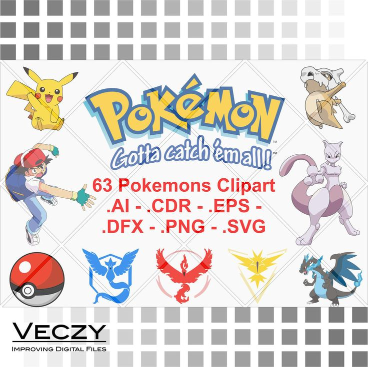 Pokemon svg, Pack of 63 vectors, pokemon svg files, svg bundle, Pokemon Go, Pokemon Vector, svg files, svg files for cricut. by Veczy on Etsy
