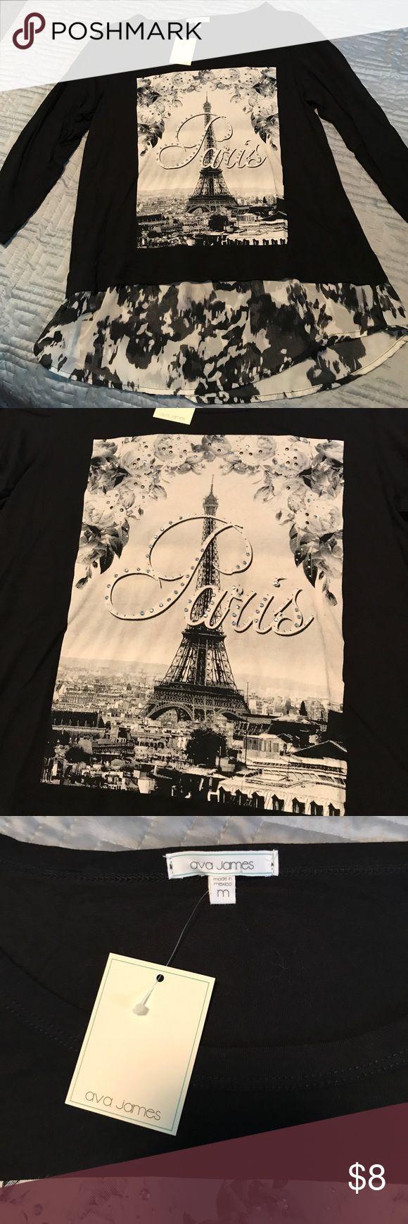 Ava James Paris Shirt Ava James Paris Shirt with 3/4 length sleeves. Great chiffon at the bottom of top. NWT. Tops Tees - Long Sleeve
