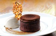 Chocolate fondant with nougatine biscuit and toffee sauce