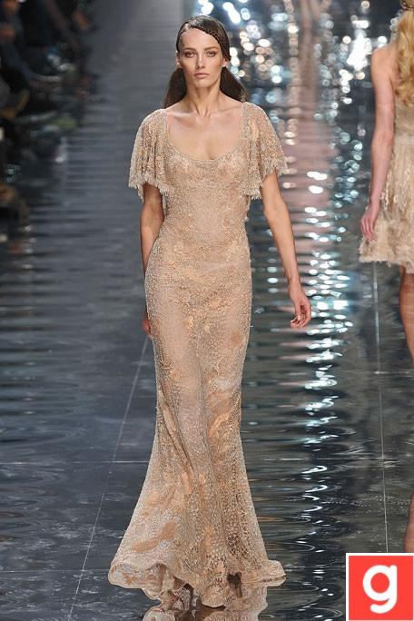 nude lace long dress