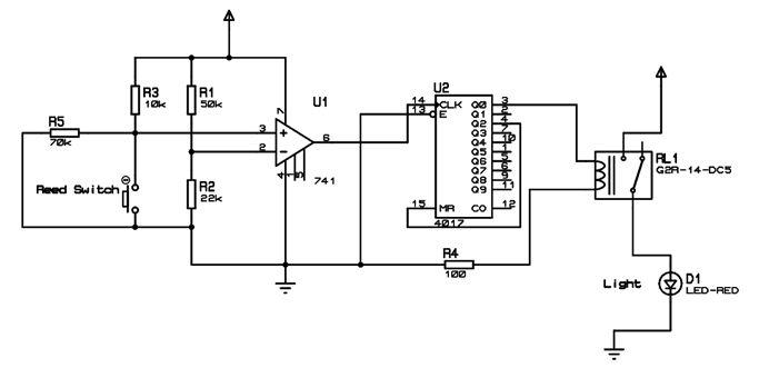 Encendido y apagado de luz automatico con sensor magnetico en puerta - Automatic Wash room Light Switch Circuit Diagram