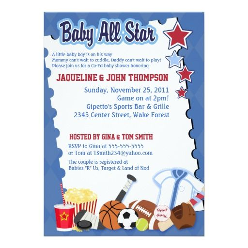 302 best Sports Baby Shower Invitations images on Pinterest
