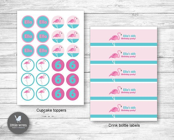 Flamingo Party Invitation flamingo Birthday Ideas cupcake topper sticker party bag tags water drink bottle label wrapper pop top