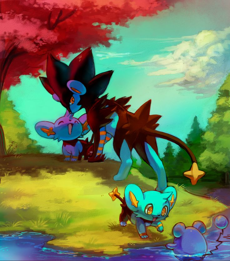 Quiet walk with my children by kori7hatsumine.deviantart.com on @DeviantArt (Luxray, Shinx and Marill)