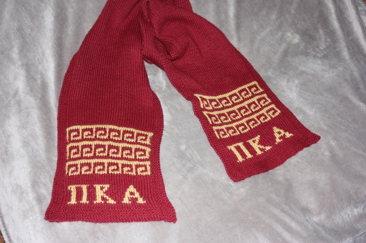 "Fraternity scarf ""Pike"" frat with greek key mosaic pattern"