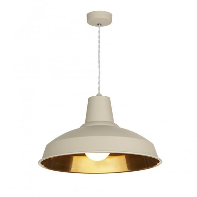 retro lighting. this ceiling pendant light has a cotswold cream finished outer and copper inner its retro lighting