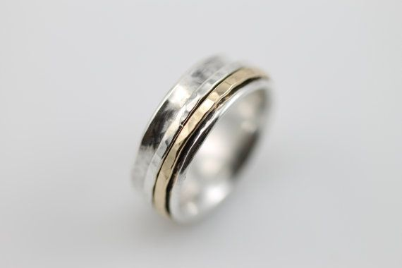 Narrow Hammered Spinner RIng by stonesthrowjewelry on Etsy