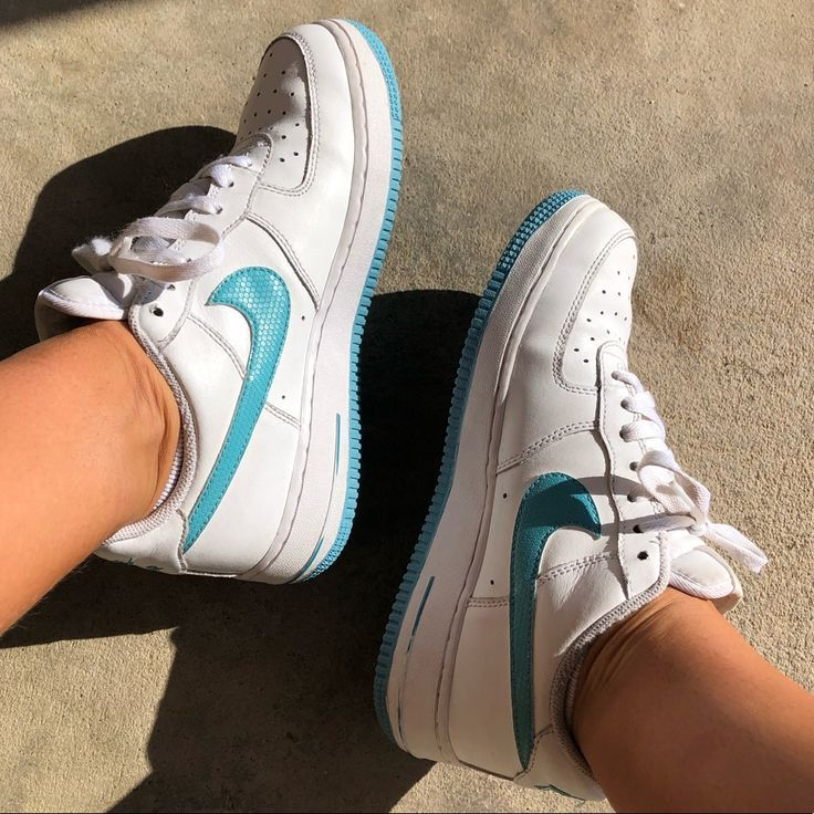 Isla de Alcatraz Doncella materno  Nike Shoes | Nike Air Force 1 White And Turquoise | Color: Blue/White |  Size: 8 | Nike air, Nike air force, Nike