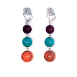 Iceberg Peach Crackle Pop - Featuring semi precious coloured howlite and dyed jade, finished using sterling silver components and sterling silver continental clip hooks  Length: 5.5cm drop