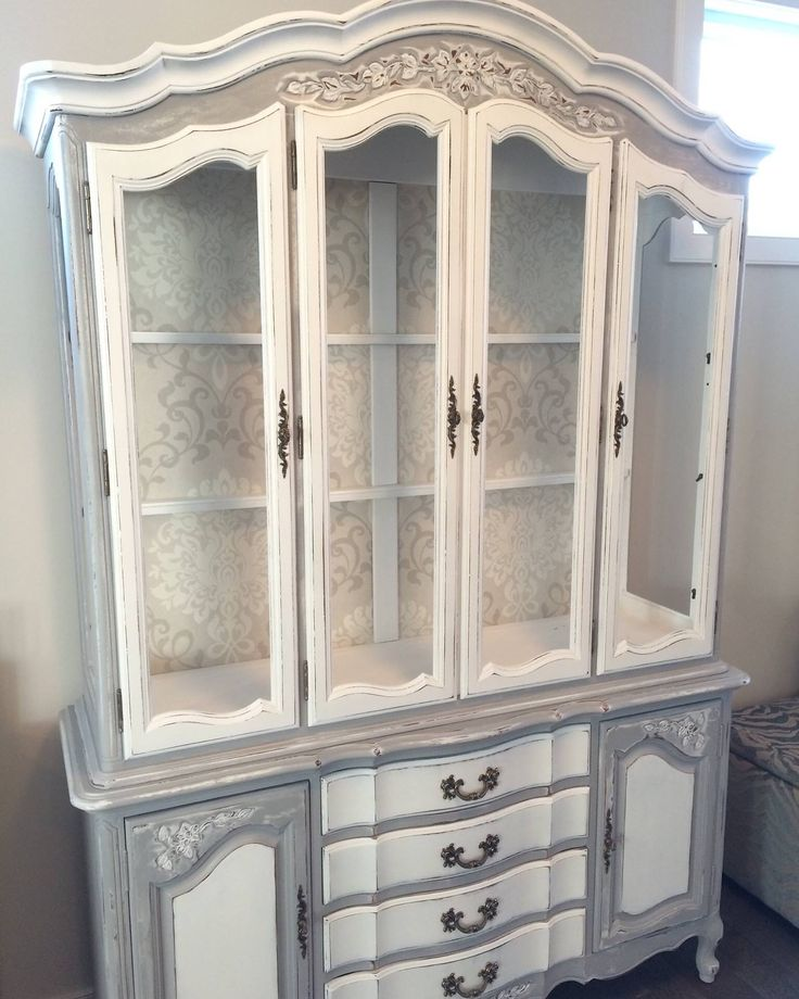 Custom paint finish on french provincial cabinet by Honey B's at Home