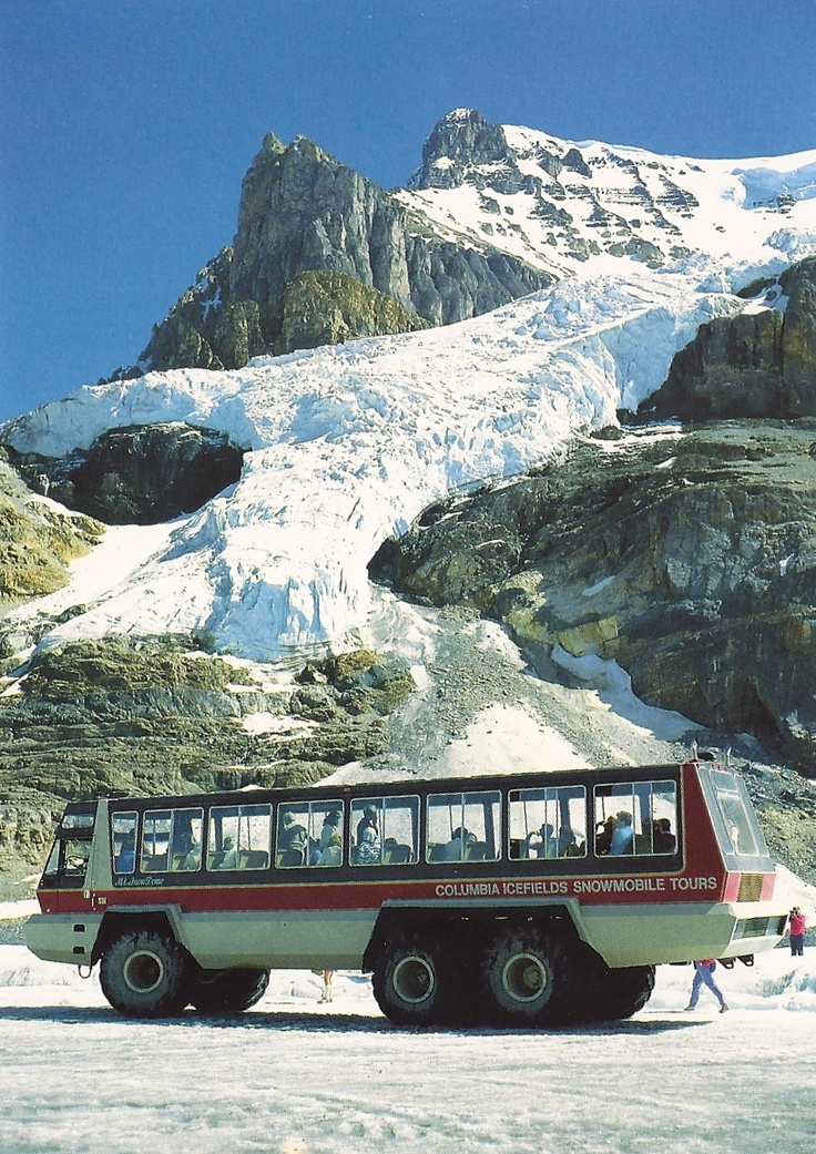 Columbia Icefield, Alberta, Canada  ( Athabasca glacier) Largest (in-land) glacier in the world.