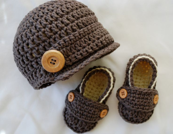 Baby Boy Newsboy Hat and Loafer Booties Set in Taupe & Almond by MaddyMade