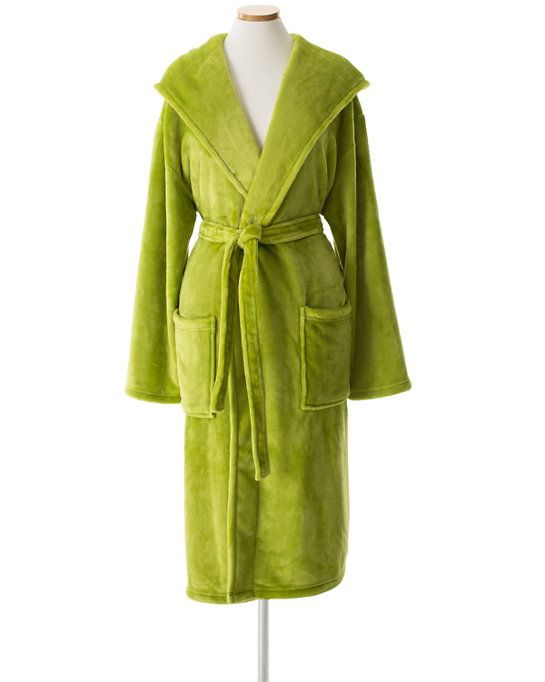 #PineConeHill Selke Fleece Green Hooded Robe. Surround yourself in comfort with this unbelievably cozy fleece hooded robe in a vibrant green. A special microfiber knitting and polishing technique makes this bathrobe a silky, skin-soothing treat. You may never want to take it off!