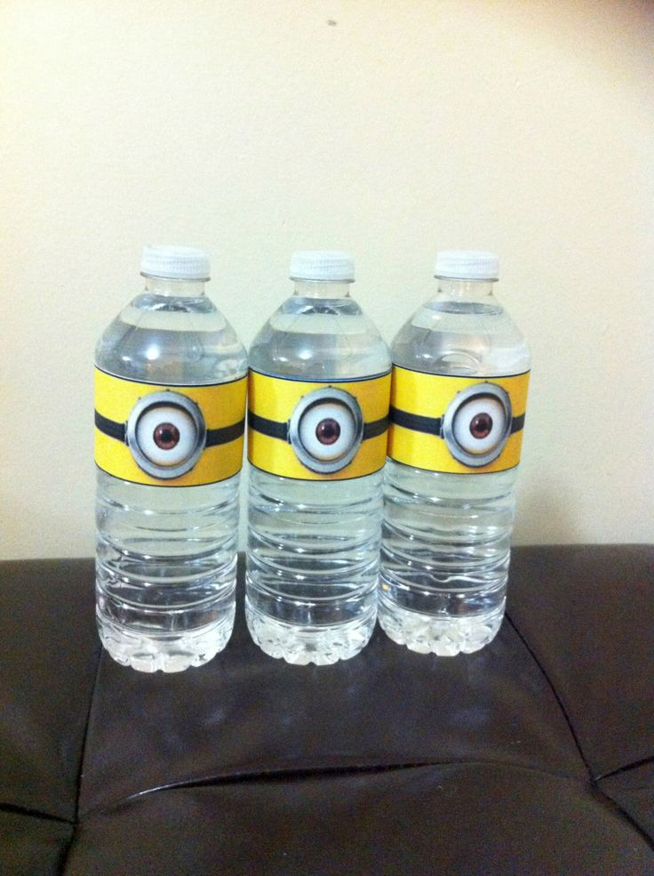 Minion Water Bottle Label - Printable by GracefulCreationsPC on Etsy https://www.etsy.com/listing/177532276/minion-water-bottle-label-printable