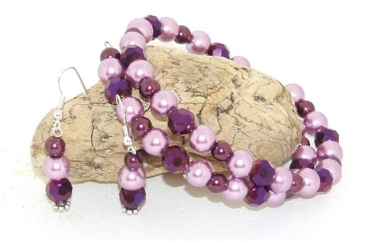 Purple Glass Pearls and Crystals, this Bracelet and Earring Set is a lovely addition to any outfit!  $30