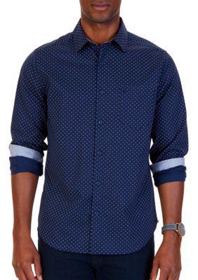 Nautica Men's Print Woven Button-Down Shirt - Navy - 2Xl
