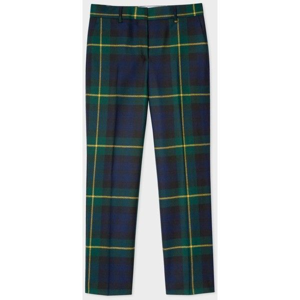 Paul Smith Women's Slim-Fit Black Watch Check Wool Trousers ($335) ❤ liked on Polyvore featuring pants, slim fit wool pants, wool pants, slim trousers, slim fitted pants and checkerboard pants