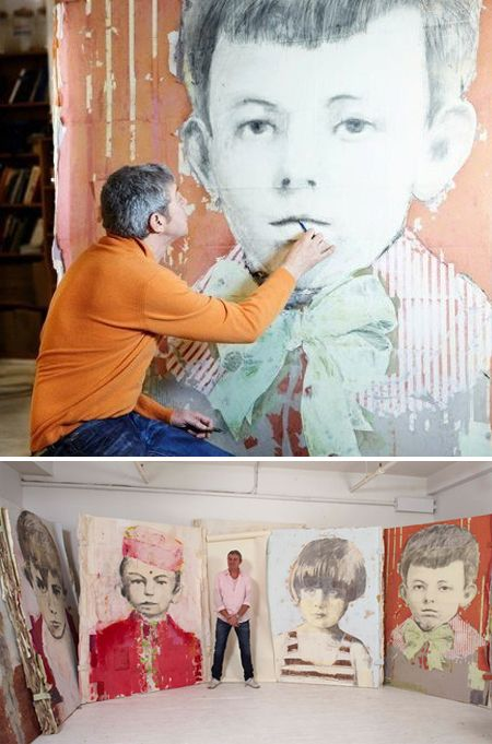 """These mixed-media portraits by Montreal based artist Louis Boudreault grabbed me immediately! They are part of a series titled """"Destiny"""", as these are the childhood portraits of such greats as Picasso, Warhol, van Gogh, Elvis etc!"""