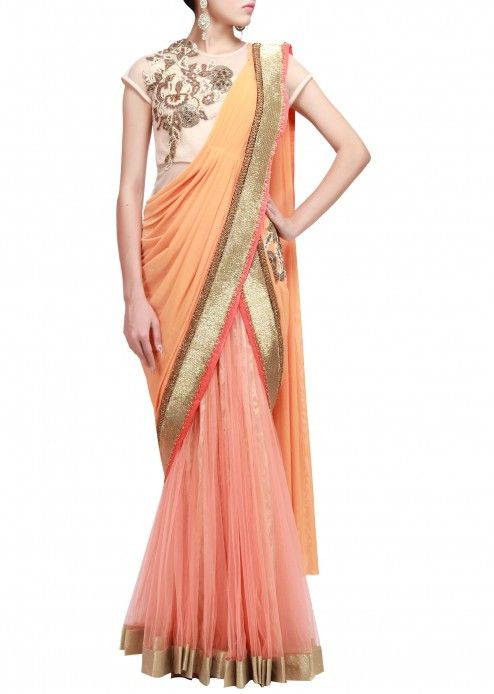 Pre stitched saree gown featuring in peach only on Kalki