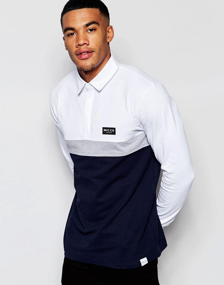 Nicce London Long Sleeve Rugby Polo Shirt