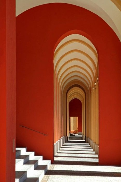 The hallway walls make it appear as though its recieding for Sense of space architecture