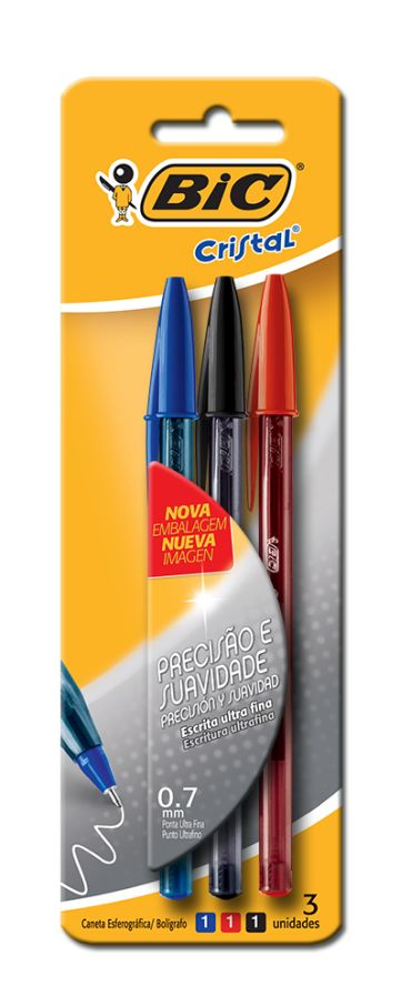Caneta Esferográfica Bic Cristal Ultra Fina - 03 Cores - Azul, Vermelho e Preto