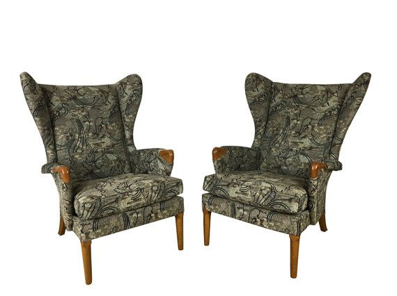 Rare Pair of Parker Knoll Wingback Armchairs  Mid Century