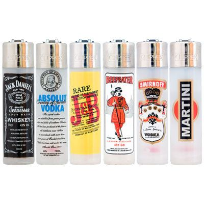6 Assorted Clipper Lighters - Alcohol Brands - www.millscollectables.com