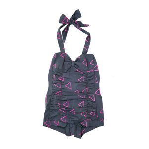 swimsuit/sunsuit with handprinted neon patterns