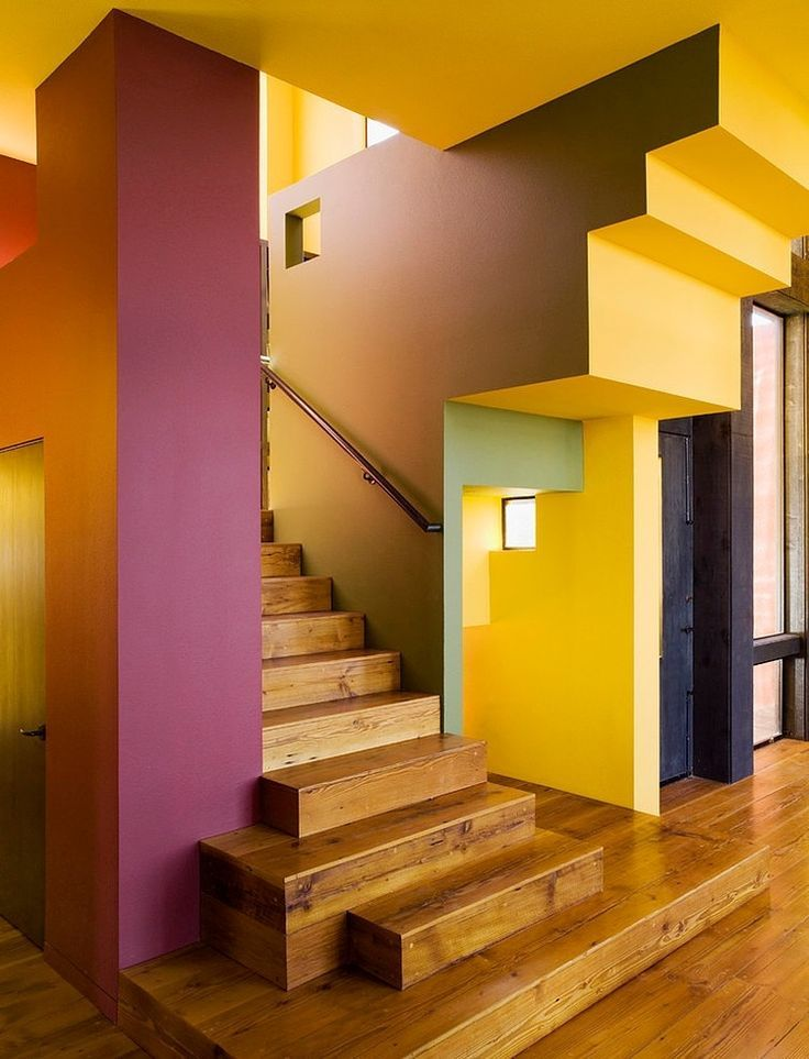 Love this colour and distorted perspective Colorful Residence by House House Architects