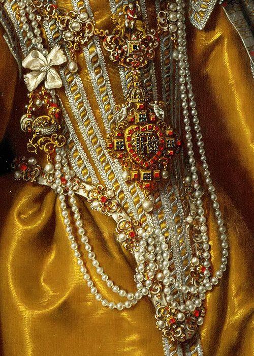 Maria Magdalena of Austria. Detail. Frans Pourbus II, 1603. Jewellery
