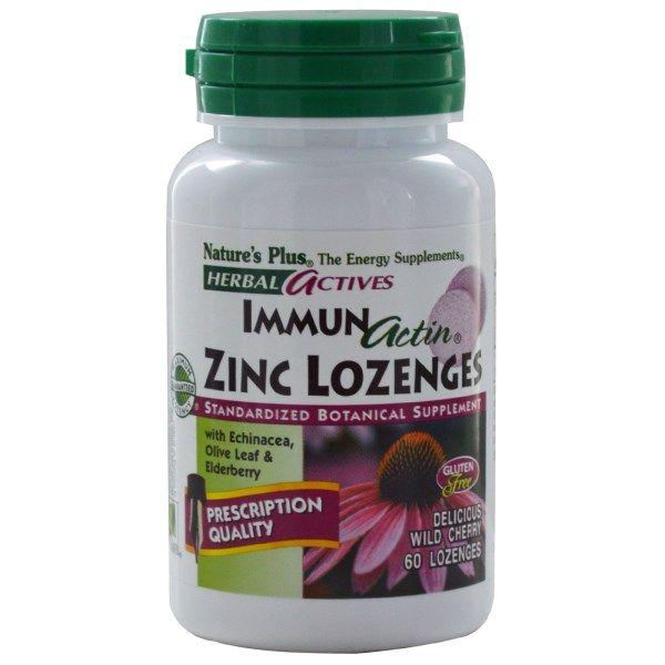 Nature's Plus, Herbal Actives, Immun Actin, Zinc Lozenges, Wild Cherry, 60 Lozenges