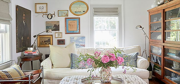 An architect by training, designer Jennifer Vaughn Miller is known  for creating luxe, era-spanning interiors for clients from NYC  to her home state of Texas. But for her young family's weekend  home on Long Island's North Fork, her approach was a bit  more laid-back. Step inside the relaxed, well-collected space  and shop Jennifer's curated finds to make the look your own.