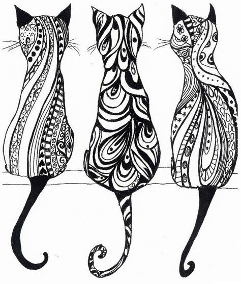 3 cats adult coloring page