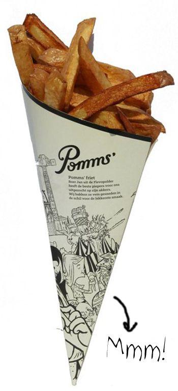 Leuk: ook frietjes - eten op festival verdelen naar Pommi's, Wietje's, Hui-Hui's favorite, of Hugo Favorites... zoals Oprah favorite things!