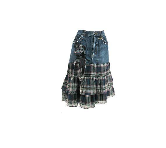jean skirt -Denim skirt, hipster skirt, alternative fashion -  Size 12 skirt,    # 227