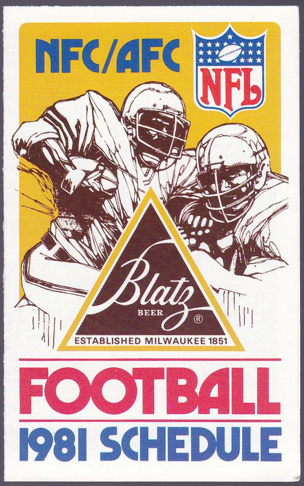1981 BLATZ BEER NFL NFC AFC FOOTBALL POCKET SCHEDULE NMMT FREE SHIPPING #SCHEDULE