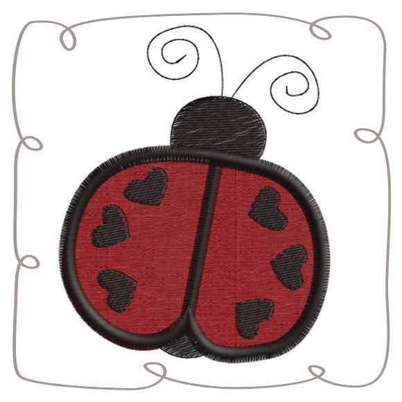 Ladybird Applique Machine Embroidery Design Pattern-INSTANT DOWNLOAD