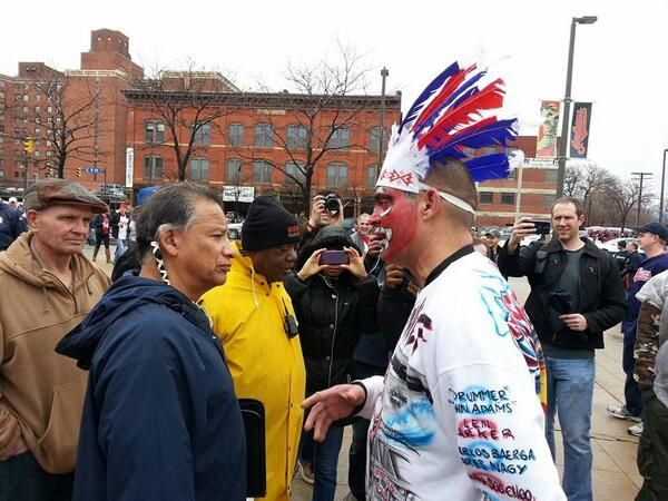 A group from the American Indian Education Center attended Cleveland's home opener to protest the ongoing use of Chief Wahoo as the Indians' mascot — particularly the red-faced cartoon image most closely associated with the team.