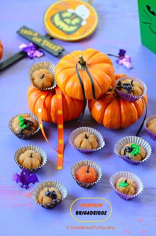 Pumpkin Brigadeiros -- Made from Condensed Milk and Pumpking Puree...The Best Halloween Treat Ever!!!!
