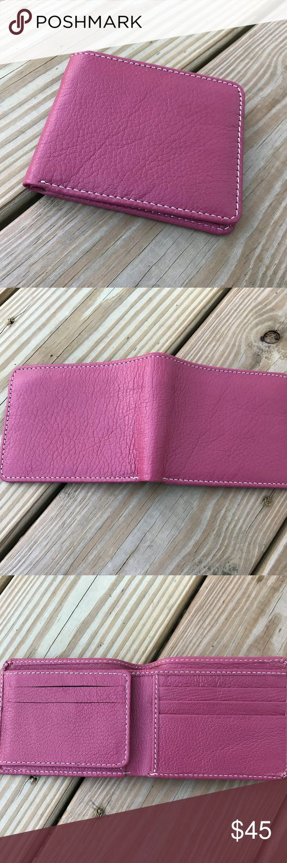 Mens Wallet Bifold Handmade Men Purse Salmon Mens Wallet Bifold Handmade Men Purse Salmon Genuine Leather Card Holder Wallet  Unique Feature: Color ( Salmon ) and 8 Slots for Credit/debit card Size: 9 inches length (opened) x 4 inches wide, 4 1/2 inches (closed)  Hand Made Genuine Leather Shining Leather High Quality  Color = Salmon  Inside:  8 slots for credit/bank cards 2 separated slots for bills 1 slots with clear Plastic for Photo or ID card or Driving Card 2 Hidden pocket  Made in…