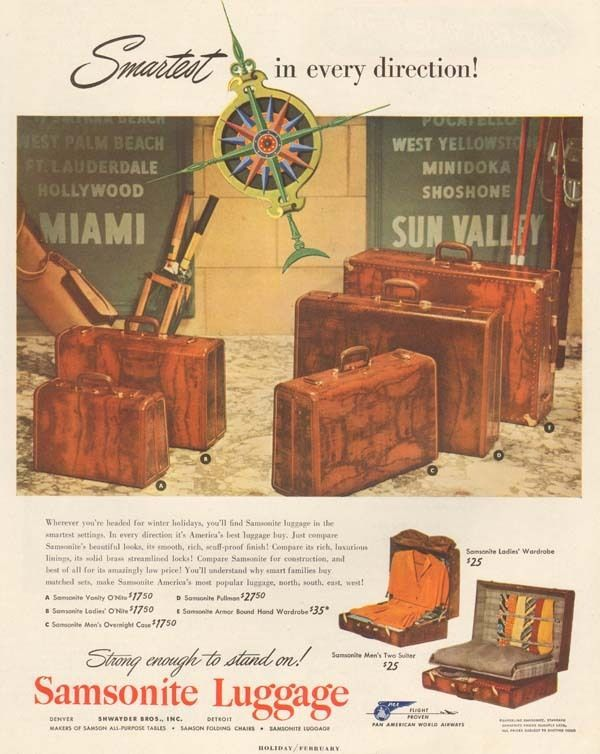 1950s vintage SAMSONITE LUGGAGE Suitcase MIAMI Sun Valley SKIING Vacation AD #SamsoniteLuggage