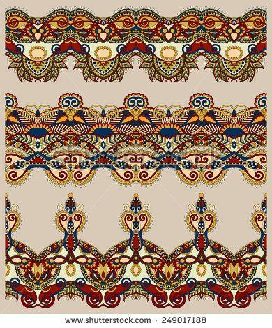 бесшовные этнических цветочные Пейсли узоров, границы множество, украинская племенная орнамент для печати или вышивки лентой, или для дизайна в бежевых тонах - вектор акций