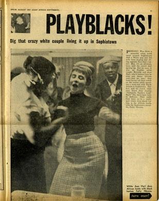 """White Jean Hart does African kwela with black hostess Fatty Nkoana.""  50's SophiaTown"