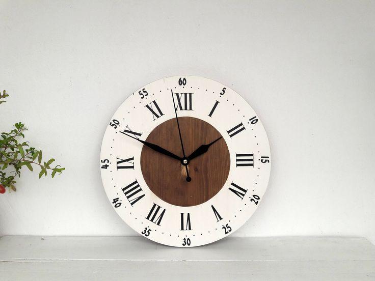 "Wooden clock Rustic wall clock 12"" Home decor  Farmhouse clock by DecoLavka on Etsy"