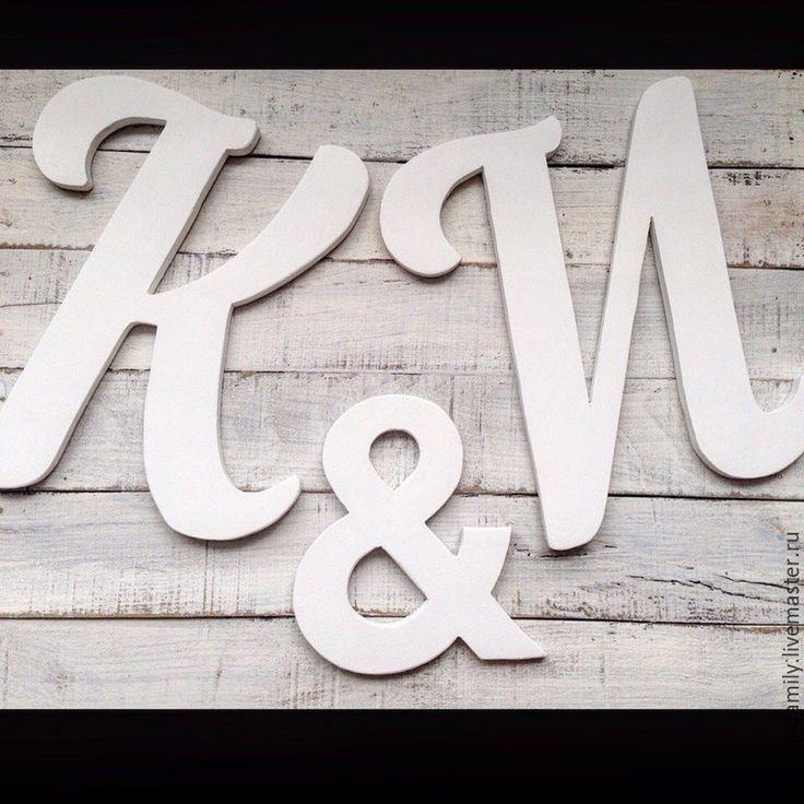 Купить Инициалы деревянные на свадьбу - белый, деревянные буквы, буквы из дерева, буквы из фанеры