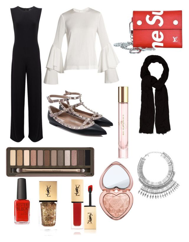 """Evening dinner party outfit 😱💍💗"" by hadiyak on Polyvore featuring KamaliKulture, Galvan, Valentino, Supreme, Urban Decay, Kester Black, Too Faced Cosmetics, Burberry, Yves Saint Laurent and Maje"