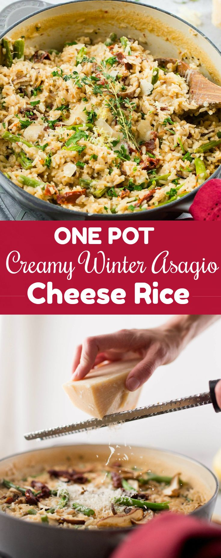 Theholidaysare busy enough without adding in all of the cooking andfamily dinners. Creamy Winter Asiago Cheese Ricewithasparagus and @Knorr Selects is a perfect one pot family meal and great to add your holiday leftovers to! #sponsored #onepot #thanksgiving
