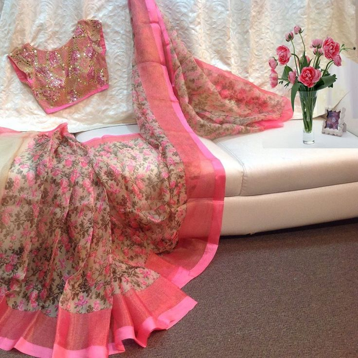 floral saree with embroidery blouse 2